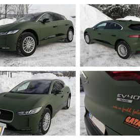 Jaguar foliert med 3M Matte Military Green